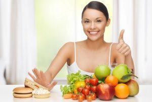 женщина за здоровую пищу
